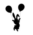 easter bunny with balloons silhouette vector image vector image