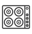 electric hot plate line icon electrical stove vector image vector image
