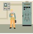 Electrician and equipment vector image vector image