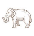 elephant animal standing side view hand drawn vector image vector image