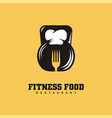 fitness food restaurant logo design concept vector image