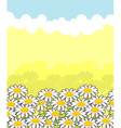 Floral landscape white flowers and blue sky Clouds vector image vector image