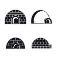 frozen igloo icon set simple style vector image