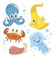 funny ocean animals vector image