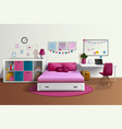 Girl Room Realistic Interior vector image vector image
