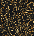 golden seamless floral background pattern vector image