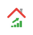 icon concept of sales bar graph moving up under vector image vector image