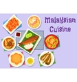 Malaysian cuisine fish and meat dishes icon vector image vector image