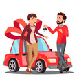 man giving woman keys of red car present vector image vector image