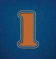 Number 1 made from leather on jeans background vector image vector image