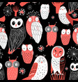 pattern different owls vector image vector image