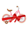 pink bicycle in decorative wrapping ribbon with vector image vector image