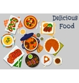 Pumpkin dishes icon for healthy lunch design vector image vector image