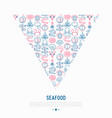 seafood concept in triangle with thin line icons vector image vector image