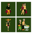 set of people shopping vector image vector image