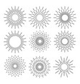 Set of sunburst geometric shapes stars and light