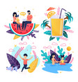 set offer family vacation on tropical beach vector image