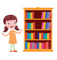 student near the bookshelf classroom vector image