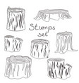 stump black and white silhouettes set vector image vector image