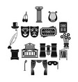 theater icons set simple style vector image vector image