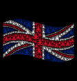 waving british flag mosaic of christian church vector image vector image