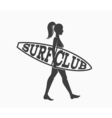Woman goes surfing with surfboard Surf club logo vector image