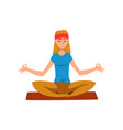 young woman practicing yoga in lotus position vector image vector image