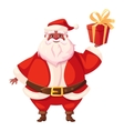 African american flat santa holding christmas gift vector image vector image