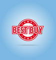 best buy label red color isolated on white vector image