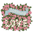blooming love romantic vintage hand vector image