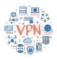 blue round vpn concept vector image vector image