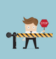 businessman standing at road barrier vector image vector image