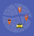 carpool map taxi service passengers sharing a vector image