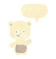 cartoon little polar bear waving with speech vector image vector image