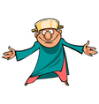cartoon man with a saucepan on her head standing vector image