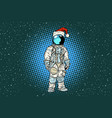 christmas lone astronaut in the santa hat vector image vector image