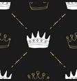 crown seamless pattern hand drawn royal doodles vector image vector image