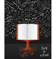Education back to school book tree over chalkboard vector image vector image