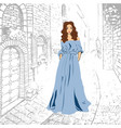 fashionable romantic girl in blue maxi dress vector image vector image