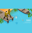 fishers isometric horizontal vector image