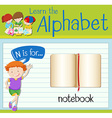 Flashcard letter N is for notebook vector image vector image