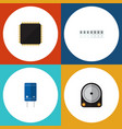 flat icon electronics set of transistor memory vector image vector image