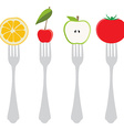Food on forks vector image
