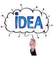 hand isolate pencil idea write blue idea vector image vector image