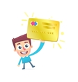 Happy owner of a gold plastic card vector image vector image