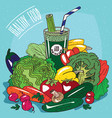 heap of vegetables and glass of vegetable juice vector image