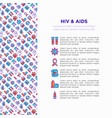 hiv and aids concept with thin line icons vector image