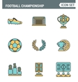 Icons line set premium quality of football vector image