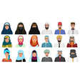 islam cartoon people icons arabic muslim avatars vector image