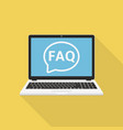 laptop with frequently asked questions solution vector image